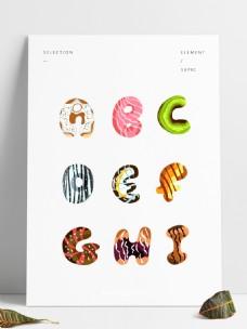 手绘糖衣甜品英文字母可商用