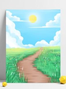 彩绘清新春季早安背景设计