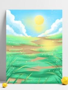 手绘蓝天太阳早安背景设计