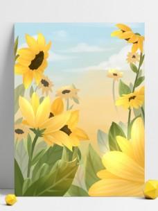 彩绘海滩向日葵背景设计