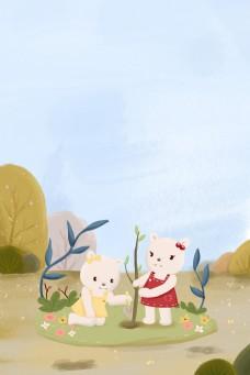 植树节保护环境儿童插画海报
