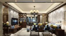 现代奢华客厅效果图3D模型