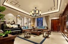 中式古典客厅效果图3D模型