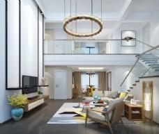 北欧loft客厅效果图3D模型