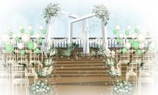 户外白绿婚礼效果图