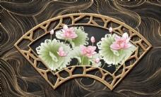 新中式浮雕扇形荷花背景墙