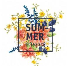 水彩花朵文字海报卡片