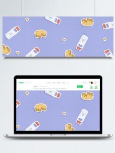 手绘牛奶奶酪食物banner背景素材
