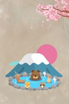 中式 文艺风  樱花季 温泉 背景 海报