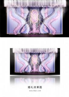 紫色迎宾区婚礼效果图