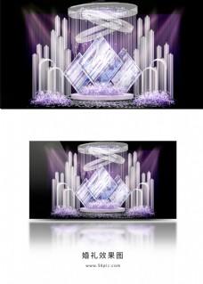 紫色婚礼迎宾区效果图
