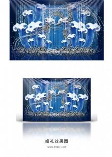 蓝白色系海洋风婚礼效果图