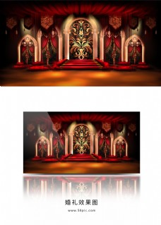 梦幻红金欧式拱门铁艺婚礼效果图