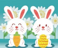 可爱白兔在春季白色花丛