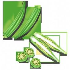 手绘秋葵绿色蔬菜