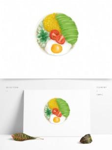 原创肌理风格食物荷包蛋玉米牛油果沙拉