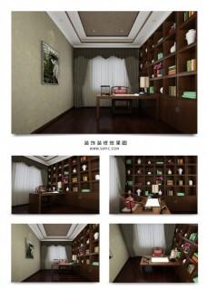 古典中式家庭书房空间效果图赏析