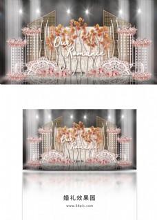 梦幻秋色白桦林立体舞台铁艺白框婚礼效果图
