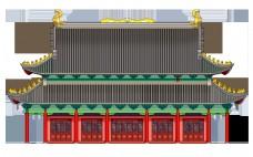 手绘中国风建筑大雄宝殿