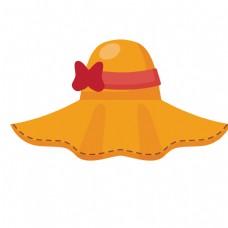 黄色扇形帽子免抠图