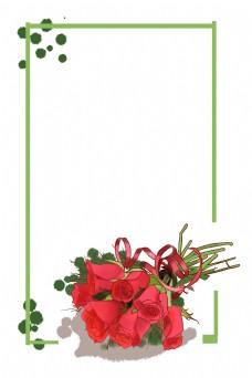 情人节手绘卡通玫瑰花边框矢量图