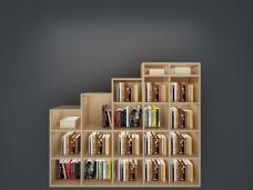 不规则格子书架书柜