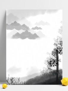 中国画水墨竹子远山意境背景