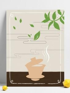 茶文化茶杯茶叶创意边框背景素材