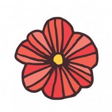 红色扇形卡通花朵免抠