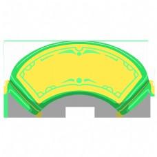 黄色的扇形卷轴边框