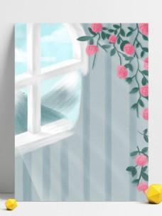 彩绘清新花藤窗户背景设计