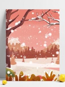 彩绘冬季雪花背景设计