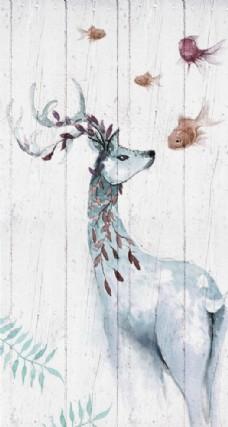 北欧新中式素雅简约手绘麋鹿玄关