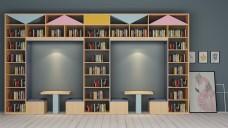 休闲书架座椅组合