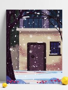 简约冬季雪地房子背景设计