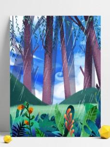 彩绘二十四节气丛林背景设计