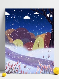 手绘冬季树林雪地背景设计