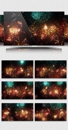 节日夜空里绚烂绽放的烟花礼花循环视频素材