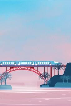 城市轻轨海报背景