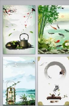 中國風山水風景海報設計背景圖