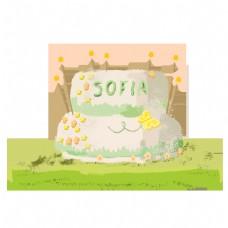 美味的生日蛋糕贺卡