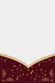 烫金花纹边框中国风雪花卡纸海报背景