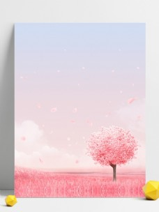 粉色浪漫桃花林背景素材