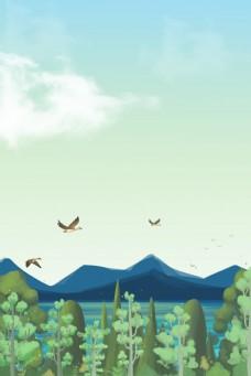 矢量卡通春日森林远山风景