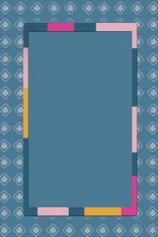 深蓝色韩国传统复古图案边框底纹