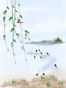 中国风水墨山水柳枝燕子背景