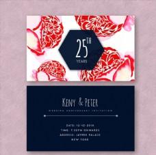 彩绘玫瑰花结婚纪念日邀请卡