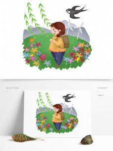 春天希望小学生柳叶燕子春风