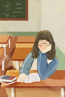 手绘教室发呆的女学生
