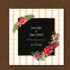 彩绘玫瑰花结婚纪念日卡片矢量图